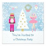 Kids Christmas Party - tree, ballerina, Nutcracker 13 Cm X 13 Cm Square Invitation Card