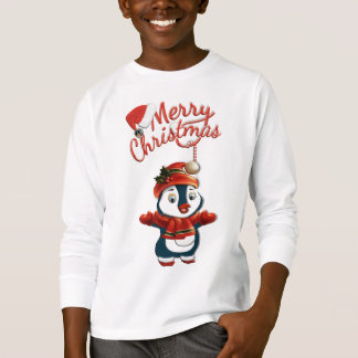 Kids' Christmas Penguin Long Sleeve T-Shirt