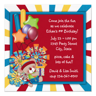 Kids Circus Birthday Party 13 Cm X 13 Cm Square Invitation Card