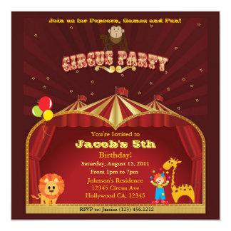 Kid's Circus Birthday Party 13 Cm X 13 Cm Square Invitation Card