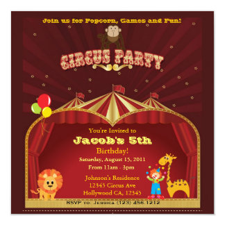 Kid's Circus Birthday Party Card