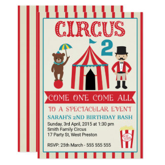 Kids Circus Birthday Party Invitation