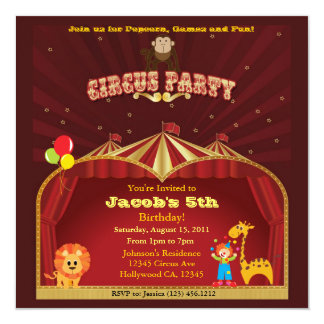 Kid's Circus Birthday Party 13 Cm X 13 Cm Square Invitation Card