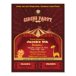 "Kid's Circus Birthday Party Invitation 4.25"" X 5.5"" Invitation Card"