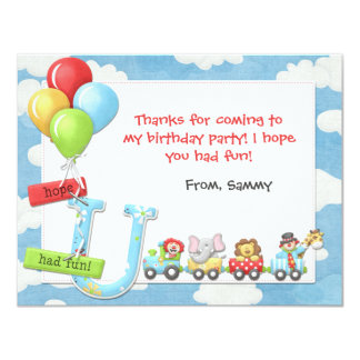 Kids Circus Birthday Party Thank You Card Invite