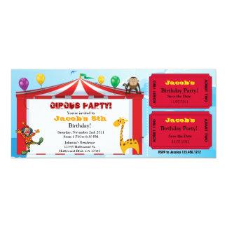"Kids Circus Birthday Ticket Invites 4"" X 9.25"" Invitation Card"