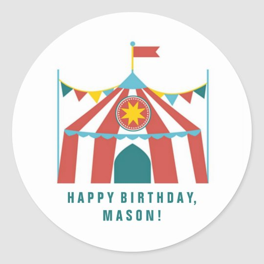 Kid's Circus Theme Birthday Party Favour Stickers