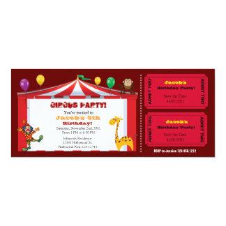 "Kid's Circus Ticket Birthday Invites 4"" X 9.25"" Invitation Card"