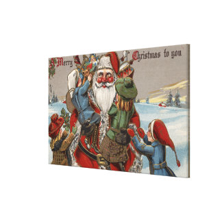 Kids Climbing on Santa Gallery Wrapped Canvas