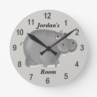 Kid's Clock Cute Baby Hippo