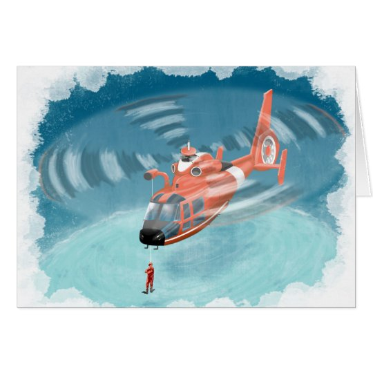 kids coast guard helicopter birthday card