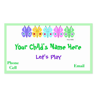 Kid's Colorful Butterfly Calling Cards Business Card Templates