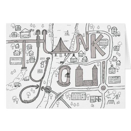 Kids Coloring Thank You card