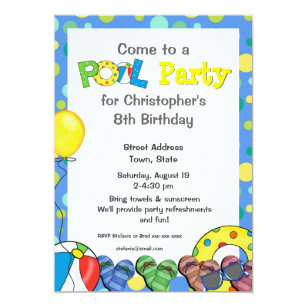 Kids Pool Party Invitations Announcements Zazzlecouk