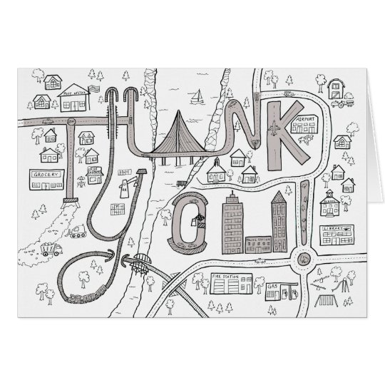 Kids Colouring Thank You card