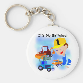 Kids Construction 1st Birthday T-shirts and Gifts Basic Round Button Key Ring