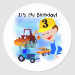 Kids Construction 3rd Birthday T-shirts and Gifts Round Stickers