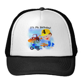 Kids Construction 4th Birthday T-shirts and Gifts Mesh Hat
