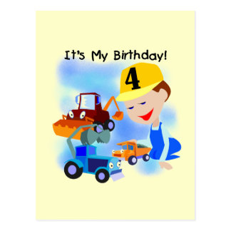 Kids Construction 4th Birthday T-shirts and Gifts Postcard