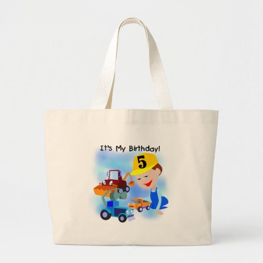 Kids Construction 5th Birthday Tshirts and Gifts Canvas Bags
