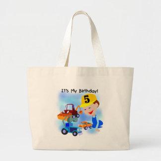 Kids Construction 5th Birthday Tshirts and Gifts Jumbo Tote Bag