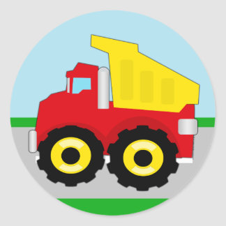 Kids Construction Dumptruck Round Sticker