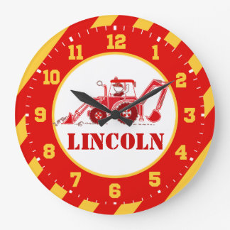 Kids construction tractor red digger wall clock