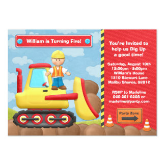 Kids Construction Truck Birthday Party Invitation