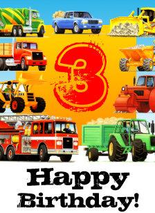 Kids Construction Truck Happy 3rd Birthday Card
