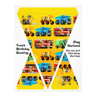 Kids Construction Truck Party Decorations Bunting 21.5 Cm X 28 Cm Flyer