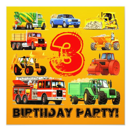 Kid's Construction Trucks 3rd Birthday Party Card