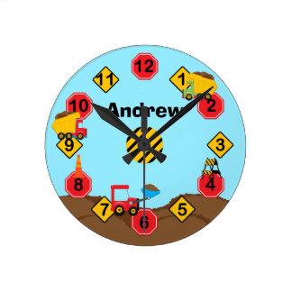 Kids Construction Trucks Wall Clock