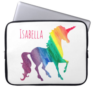 Kids Cool Colorful Watercolor Rainbow Unicorn Laptop Sleeve