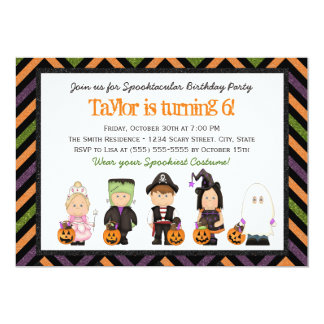 Kids costume Halloween Birthday Party Invitation I