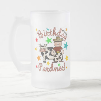 Kids Cowboy Birthday Frosted Glass Mug