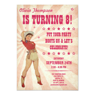 "Kid's Cowgirl Birthday Invitations 5"" X 7"" Invitation Card"