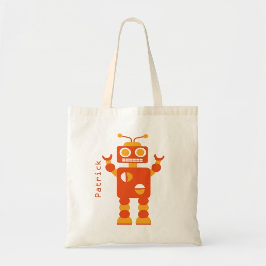 Kids Crazy Orange Robot Personalised Boys Tote Bag