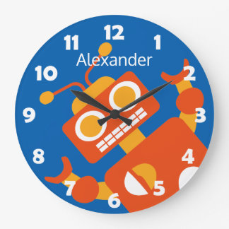 Kids Crazy Orange Robot Personalized Cool Blue Wallclock