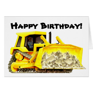 Kid's Custom Bulldozer Greeting Card