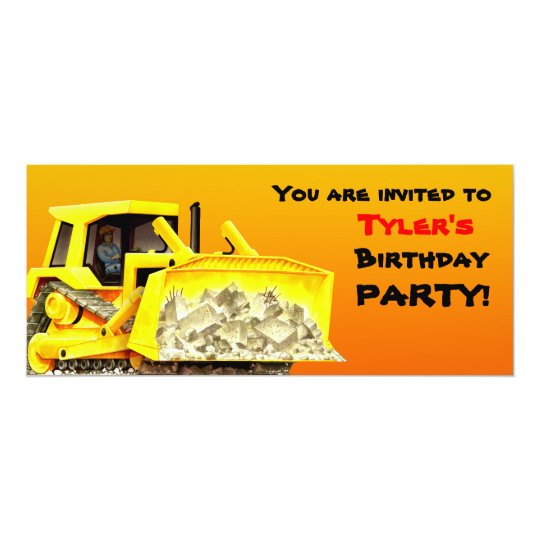 Kids Custom Bulldozer Party Invitation