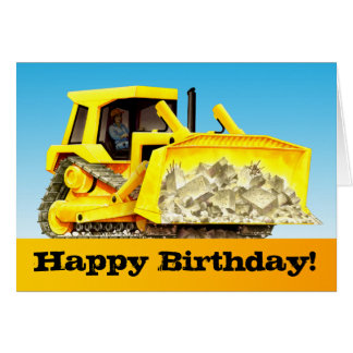Kids Custom Construction Happy Birthday Bulldozer Card