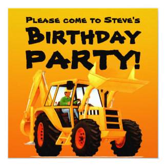 Kid's Custom Construction Party Yellow Digger Card