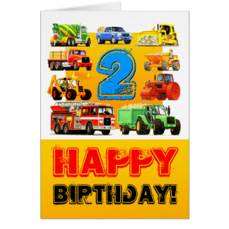 Kid's Custom Construction Trucks 2nd Birthday Card