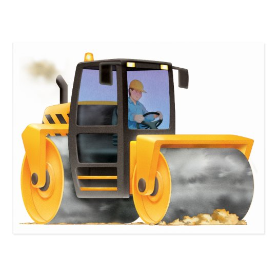 Kid's Custom Construction Trucks Road Roller Postcard