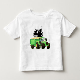 Kid's Custom Green Farm Tractor 4th Birthday Toddler T-Shirt