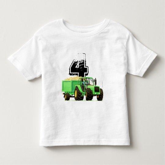 Kid's Custom Green Farm Tractor 4th Birthday Toddler