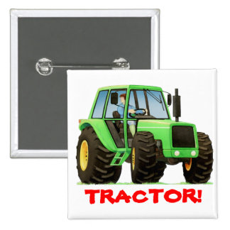 Kids Custom Green Tractor 15 Cm Square Badge