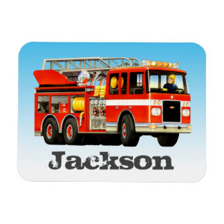 Kid's Custom Name Fire Truck Party Rectangular Photo Magnet