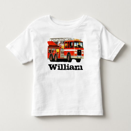 Kid's Custom Name Fire Truck Toddler T-Shirt