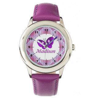 Kids Custom name Pink Purple Plaid Butterfly Watch